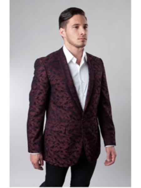 One Button Burgundy Single Breasted Notch Lapel blazer