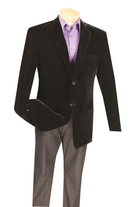 MensTwo Button Black big and tall velvet blazer / Sport Coat