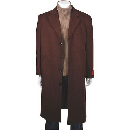 Classic single breasted CoCo Dark Brown Wool Cashmere overcoat