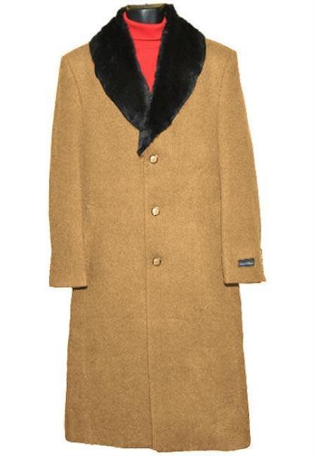 Mens Fur Collar Camel Wool Overcoat full length Topcoat