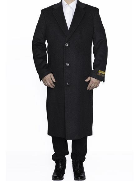 Mens Full Length Wool Dress Charcoal Color Top Coat / Overcoat