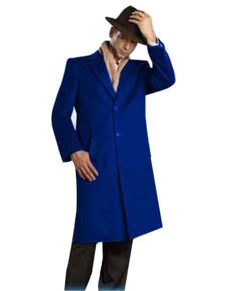 Mens Alberto Nardoni Brand Dark Royal Blue Full Length - Mens Topcoat