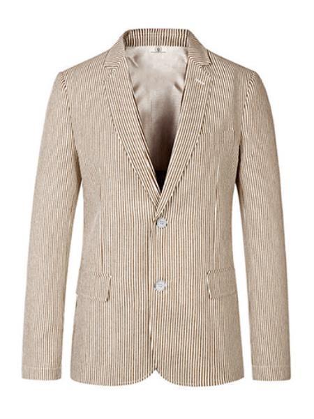 Men's Notch Lapel Brown seersucker Sport Coat