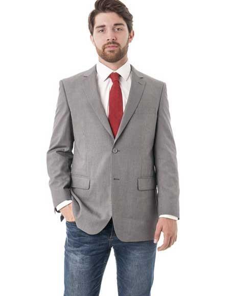 Men's Grey Two Button Classic Fit Double Vent Blazer