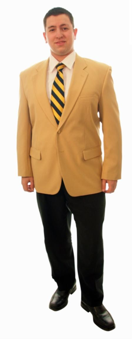 Single Breasted Two Button Solid Camel blazers Sale
