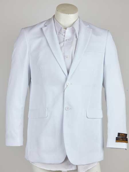 White Men's Two Button Notch Lapel Single Breasted Blazer
