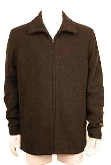 Zipper Collar Wool Blend plane pattern Jacket ~ Charcoal