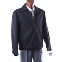 Mens Wool coat with zipper -  black Peacoat with zipper