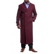 Mens  Red Overcoat Trench coat -  Black Diamond Burgundy Wool Double Breasted