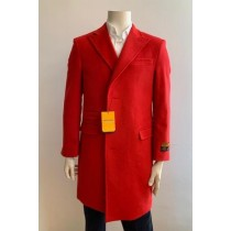Mens  Red Overcoat Trench coat - Wool Fabric Trench Coat
