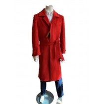 Mens  Red Overcoat Trench coat - Wool Fabric Trench Coat For Men Full Length TopCoat