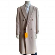 Mens Beige Overcoat-Double Breasted Full lentgh Overcoat-Mens Topcoat