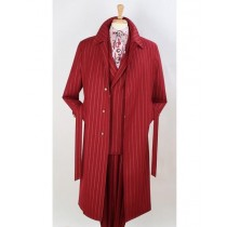 Mens  Trench coat -  Burgundy Red Wool Fabric Trench Coat