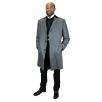 Chesterfield Black Herringbone wool blend Overcoat