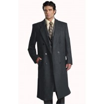 Mens Six Button Dark Grey Notch Lapel Fully Lined Long Overcoat Double Breasted Top Coat