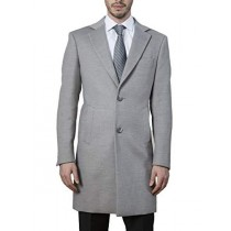 Mens Modern Fit Polyester Viscose Spandex Light Grey Topcoat