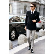 Mens Black Casual Tailored Double Breast Velvet Jackets