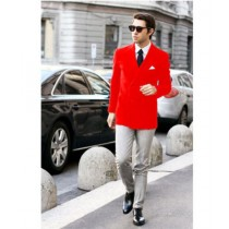 Mens Red Casual Tailored Double Breast Velvet  Jacket