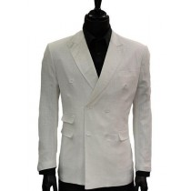 Lanzino Mens Double Breasted White Linen Casual Jacket