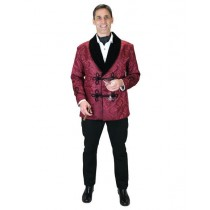 Men's Burgundy ~ Wine ~ Maroon Color Brocade Vintage Jacket