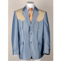 Mens Two Button Single Breasted Western Blazer Light Blue