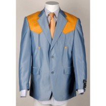 Mens Two Button Notch Lapel Western Blazer Light Blue