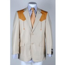 Mens Two Button Notch Lapel Western Blazer Ivory
