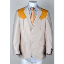 Mens Two Button Notch Lapel Western Blazer Tan