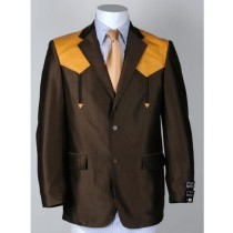 Mens Two Button Notch Lapel Western Blazer Brown
