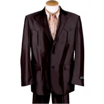 Mens Two Button Single Breasted Cuff Western Blazer Brown