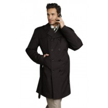 Mens Stylish Black Rain Double Breasted Rain Coat Trench Coat