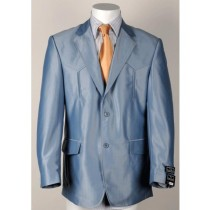 Mens Two Button Single Breasted Cuff Western Blazer Light Blue