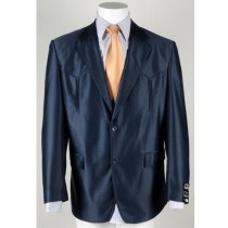 Mens Two Button Single Breasted Cuff Western Blazer Navy Blue