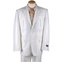 Mens Two Button Single Breasted Western Blazer white