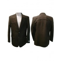 Mens Notch Lapel Single Breasted Western Blazer Brown