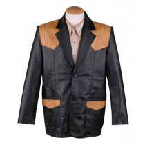 Mens Flap Front Pockets Single Breasted Western Blazer Black