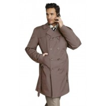 Mens Stylish Tan Beige Rain Double Breasted Rain Coat Trench Coat