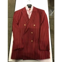 Mens Burgundy And Gold Stripe Double Breasted Blazer Sport Coat