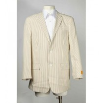 Mens Taupe Two Button Summer Seersucker ~ Jacket & Blazer