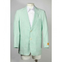 Mens Seersucker ~ Sear Sucker Two Button Green Blazer