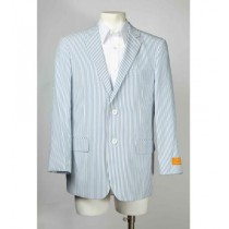 Mens Two Button Pinstripe Single Breasted Blue Seersucker