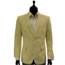 Men's Yellow White Classic Seersucker Trending Formal Blazer