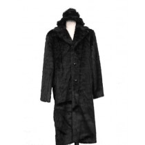 Men's Long Length Faux Fur Coat Full Length Matching Hat Black