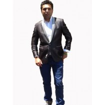 Mens Blazers Vented Black Jacket With Silver Lapel Stage Party