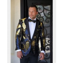 Mens Fashion Shiny Black/Gold/Sequin Satin Shawl Sport coat