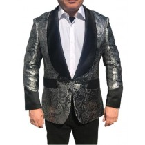 MEN'S COLLAR PARTY BLAZER SILVER PAISLEY
