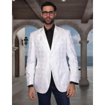 Mens Floral Satin Shiny Sequin Party White Woven Sport Coat