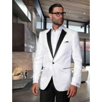 Mens Flashy Satin Shiny  Sportcoat Jacket / Dinner Jacket White