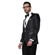 Flashy Silky Satin  Party Mens Sport Coat / Dinner Jacket Black