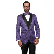 Mens Dinner Jacket Purple Sport Coat Party Two Toned Black